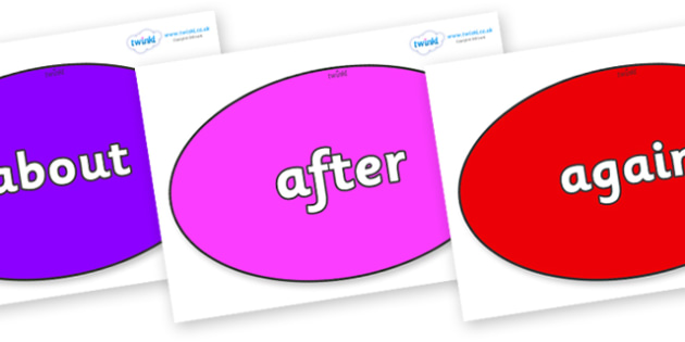 KS1 Keywords on Ovals - KS1, CLL, Communication language and literacy, Display, Key words, high frequency words, foundation stage literacy, DfES Letters and Sounds, Letters and Sounds, spelling