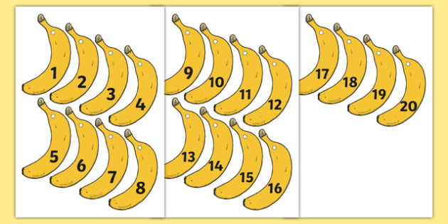 Banana-Themed Number Fan 1-20 - banana, number fan, 1-20, numbers, fans, fan