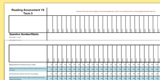 Year 4 Reading Assessment: Spreadsheet Term 3 - year 4, reading, assessment, spreadsheet