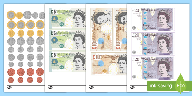 New British (UK) Coins Cut Outs Lifesize - coins, money, counting