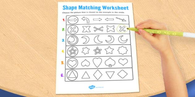 Visual Perception Shape Matching Worksheet - shape, matching