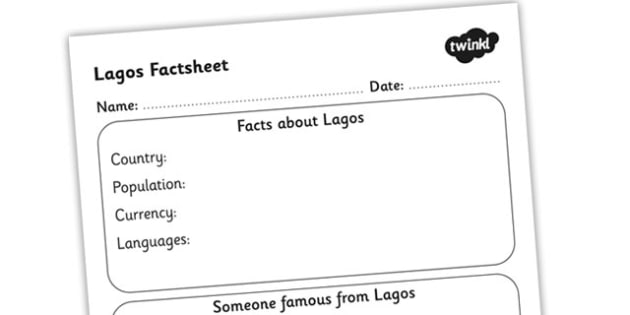 Lagos Factsheet Writing Template - lagos fact sheet, lagos fact file, lagos worksheet, facts about lagos, lagos culture, ks2 worksheet, ks2 geography