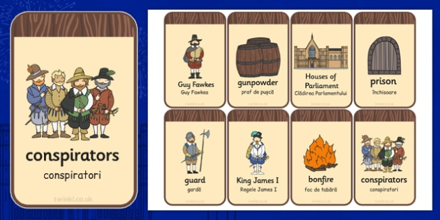 The Gunpowder Plot Flashcards Romanian Translation - romanian
