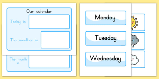 Daily Calendar Weather Chart - calender, weather, seasons, dates