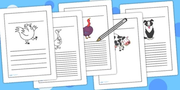 Writing Frames to Support Teaching on Farmyard Hullabaloo - farm, animals, literacy
