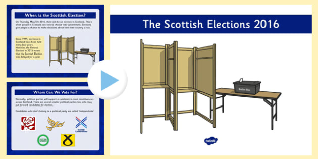 Scottish Elections 2016 PowerPoint - CfE, Scotland, politics, government, parliament, elections, voting