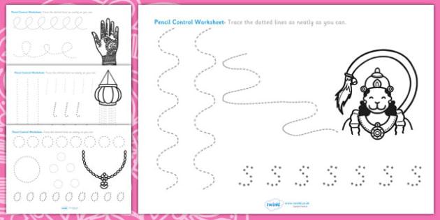 Diwali Pencil Formation Worksheet - diwali, pencil control, pencil control worksheets, fine motor skills, fine motor worksheets, diwali worksheets