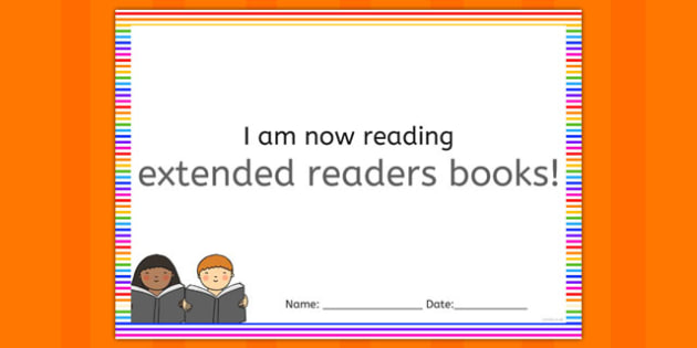 I'm Now Reading Extended Readers Books Certificate - certificate, reading