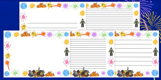 Bonfire Page Borders - page border, border, frame, writing frame, writing template, bonfire, bonfire night, fire page borders, writing aid, writing, A4 page, page edge, writing activities, lined page, lined pages