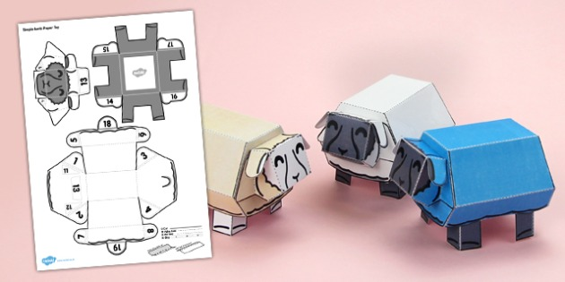 Simple 3D Sheep Paper Toy Printable Activity - simple, 3d, sheep, paper toy, printable, activity, paper, toy