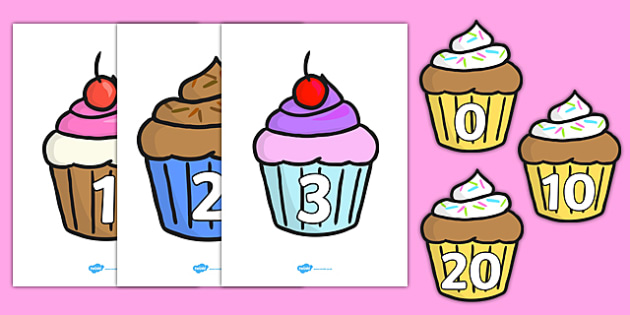 Numbers 0-100 on Cupcakes - Foundation Numeracy, Number recognition, Number flashcards, Birthday, cake, 0-100, counting,  birthday party, party hat, party invitation, invitations, party food, cake, balloons, happy birthday, birthday role play