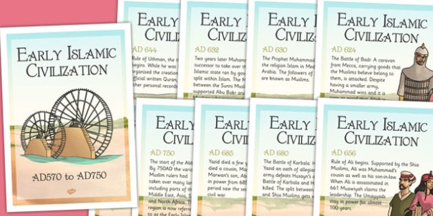 Early Islamic Civilization Timeline Posters - history, display