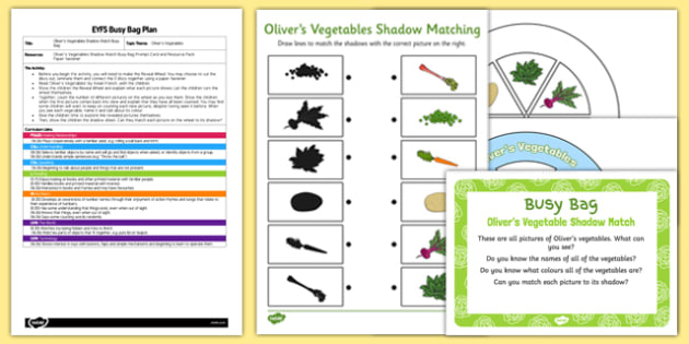 EYFS Olivers Vegetables Shadow Match Busy Bag Plan and Resource Pack