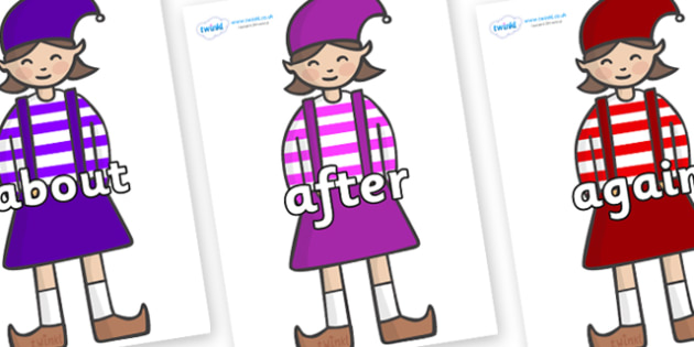 KS1 Keywords on Elf (Girl) - KS1, CLL, Communication language and literacy, Display, Key words, high frequency words, foundation stage literacy, DfES Letters and Sounds, Letters and Sounds, spelling