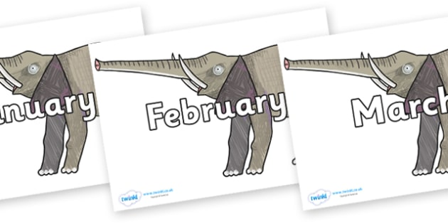 Months of the Year on Elephant to Support Teaching on The Bad Tempered Ladybird - Months of the Year, Months poster, Months display, display, poster, frieze, Months, month, January, February, March, April, May, June, July, August, September
