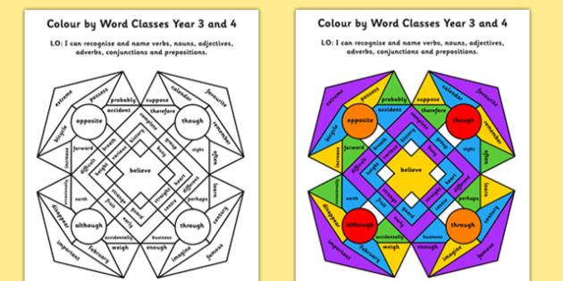 Colour by Word Class - colour, word, class, colouring, verbs, nouns