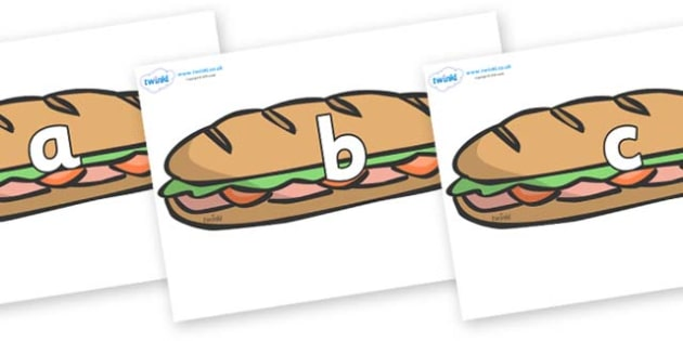 Phase 2 Phonemes on Sandwiches - Phonemes, phoneme, Phase 2, Phase two, Foundation, Literacy, Letters and Sounds, DfES, display