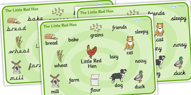 Little Red Hen Word Bank -  Little Red Hen, word mat, writing aid, Traditional tales, tale, fairy tale, little red hen, cat, dog, horse, grain, wheat, flour, bread, no I, I will