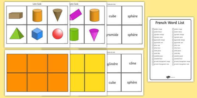 3D Shape Bingo French - french, 3d shape, bingo, 3d, shape, activity, game