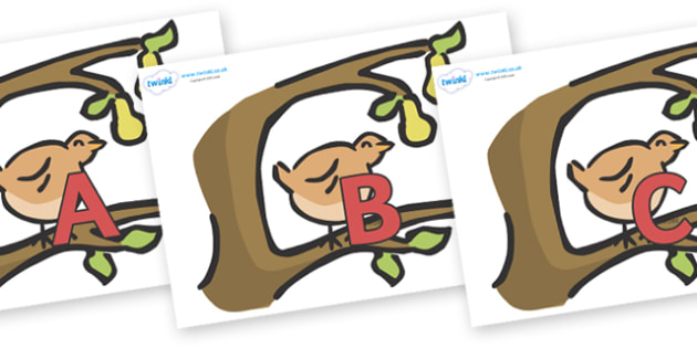 A-Z Alphabet on Partridge in a Pear Tree - A-Z, A4, display, Alphabet frieze, Display letters, Letter posters, A-Z letters, Alphabet flashcards