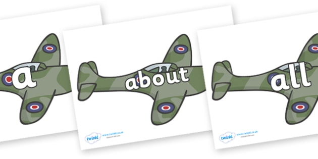 100 High Frequency Words on Planes - High frequency words, hfw, DfES Letters and Sounds, Letters and Sounds, display words