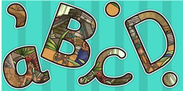 Ancient Mayans Themed Display Lettering - mayan, mayan display