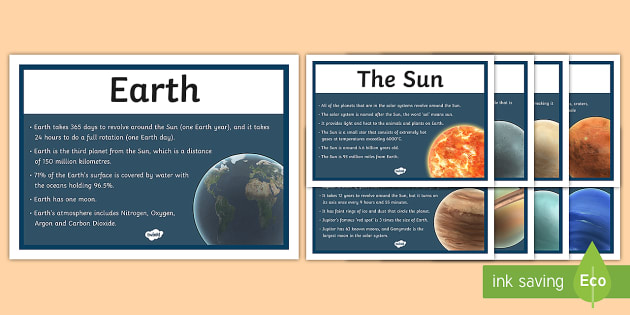 Solar System Facts Display Posters - solar system, sun, system, mercury, venus, facts, fact sheet, planet, plantes, display, poster, sign, earth, mars, saturn, uranus, neptune, different planets, the Earth, the Sun