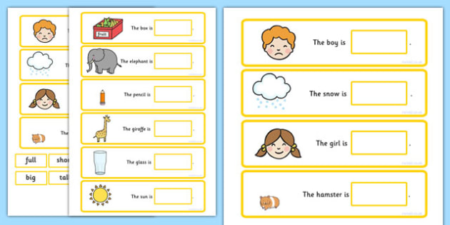 Fill In The Adjective Basic Concept Sentences Matching Activity - adjectives, SEN