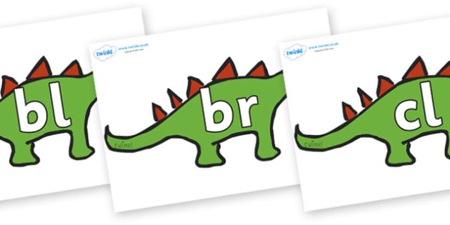 Initial Letter Blends on Dinosaurs - Initial Letters, initial letter, letter blend, letter blends, consonant, consonants, digraph, trigraph, literacy, alphabet, letters, foundation stage literacy