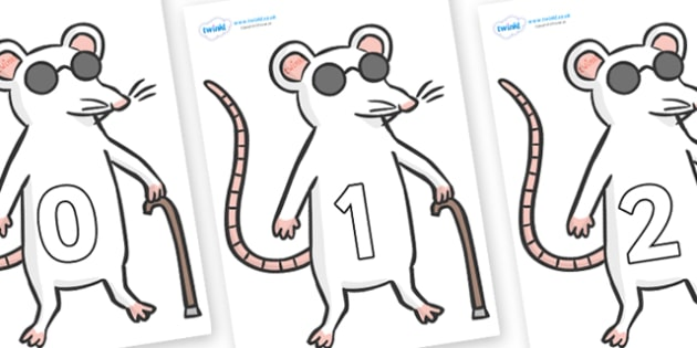 Numbers 0-100 on Blind Mice - 0-100, foundation stage numeracy, Number recognition, Number flashcards, counting, number frieze, Display numbers, number posters