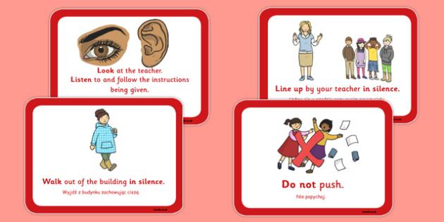 Fire Alarm Instructions Cards Sentences Polish Translation - polish, fire alarm, instruction