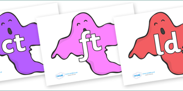 Final Letter Blends on Ghosts (Multicolour) - Final Letters, final letter, letter blend, letter blends, consonant, consonants, digraph, trigraph, literacy, alphabet, letters, foundation stage literacy