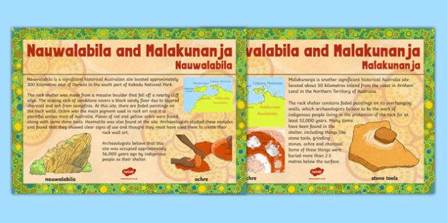 Nauwalabila and Malakunanja Site Posters - posters, display