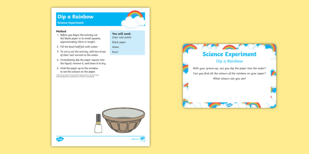 EYFS Dip a Rainbow Science Experiment and Prompt Card Pack - colour, rainbow, nail varnish, rainbow, experiments, colours, refraction