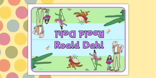 Roald Dahl Group Table Sign - roald dahl, group table signs, roald dahl themed group table signs, roald dahl themed signs, roald dahl signs