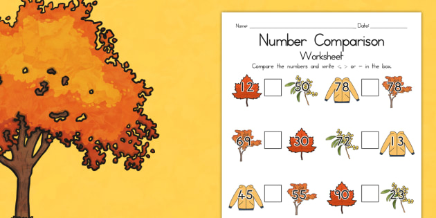Autumn Number Comparison Worksheet - seasons, numeracy, maths