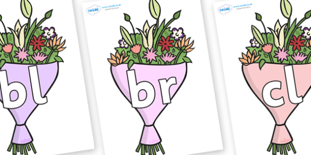 Initial Letter Blends on Bouquets - Initial Letters, initial letter, letter blend, letter blends, consonant, consonants, digraph, trigraph, literacy, alphabet, letters, foundation stage literacy