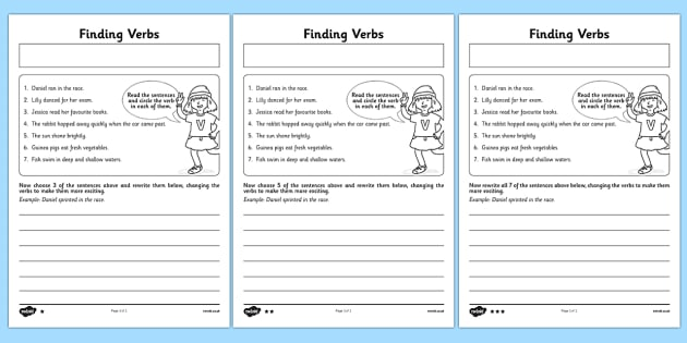 Finding Verbs Activity Sheet - finding, verbs, activity, sheet, worksheet