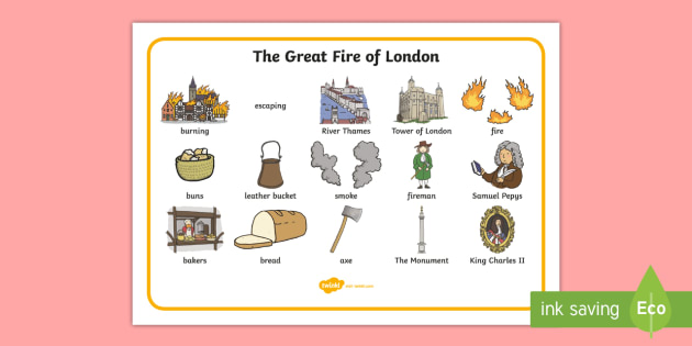 The Great Fire of London Word Bank - Great Fire of London, word mat, writing aid, 1666, great fire, pudding lane, fires, peyps, bakery, timeline, events