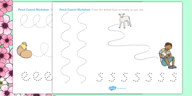 Spring Pencil Control Worksheets - spring, control, worksheets