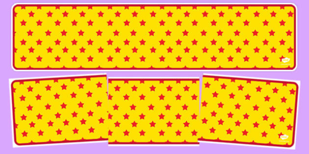 Yellow with Red Stars Editable Display Banner - yellow, red, display, banner, display banner, display header, themed banner, editable banner, editable