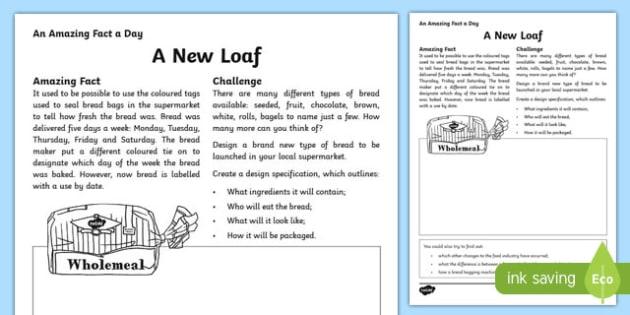 A New Loaf Activity Sheet, worksheet