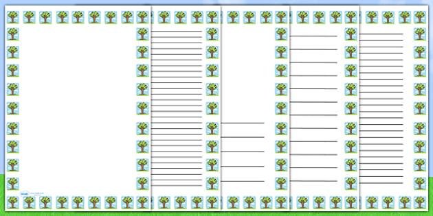 Summer Tree Portrait Page Borders- Portrait Page Borders - Page border, border, writing template, writing aid, writing frame, a4 border, template, templates, landscape