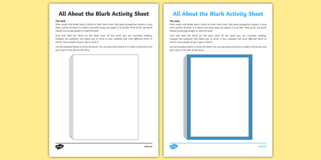 All About the Blurb Activity Sheet-Irish, worksheet