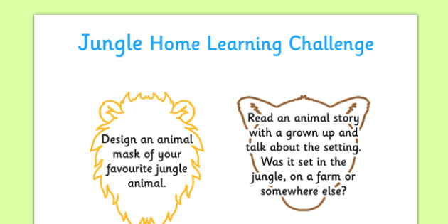 EYFS Jungle Home Learning Challenge Sheet Nursery FS1 - EYFS Planning, Early years activities, homework