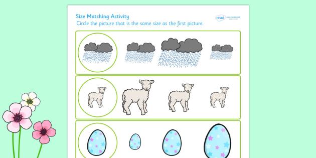 Spring Themed Size Matching Worksheet - spring, seasons, size