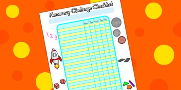 Editable Numeracy Class Challenge Checklist - math, numeracy