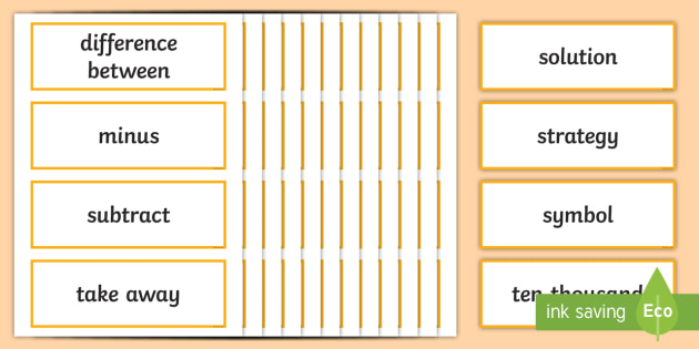 Year 5 2014 Curriculum Addition and Subtraction Vocabulary Cards