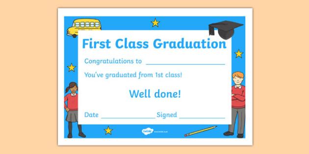 First Class Graduation Certificate