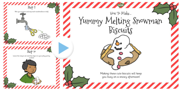 Yummy Melting Snowman Biscuits Recipe PowerPoint - Powerpoints